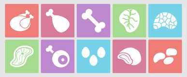 Flat icons set for web: meat, eggs, offal and. Vector collection of flat icons set for web: meat, eggs, offal and bones vector illustration