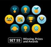 Flat icons set 55 - winning, prizes and awards Royalty Free Stock Images