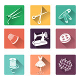 Flat icons with sewing elements Royalty Free Stock Images
