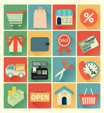 Flat icons shopping set Stock Images