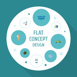 Flat Icons Shovel, Beachwear, Car And Other Vector Elements. Set Of Season Flat Icons Symbols Also Includes Turtle Royalty Free Stock Photography