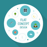 Flat Icons Sky, Playful Fish. Electric Mill And Other Vector Elements stock illustration
