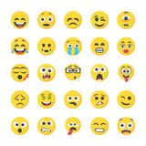 Flat Icons of Smileys Royalty Free Stock Images