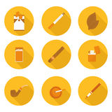 Flat icons Smoking accessories Stock Photo