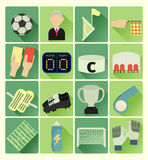 Flat icons soccer set Royalty Free Stock Image