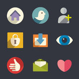 Flat icons. Social media Royalty Free Stock Photography