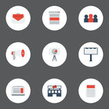 Flat Icons Social Media Ads, Laptop, Auditorium And Other Vector Elements. Set Of Advertising Flat Icons Symbols Also Royalty Free Stock Photography