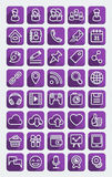 Flat Icons Social Media Purple Set Stock Photography
