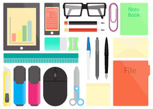 Flat icons of stationery on the table Stock Images