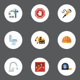 Flat Icons Stop Sign, Pneumatic, Faucet And Other Vector Elements. Set Of Construction Flat Icons Symbols Also Includes royalty free illustration