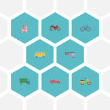 Flat Icons Streetcar, Scooter, Lorry And Other Vector Elements. Set Of Vehicle Flat Icons Symbols Also Includes Moped stock illustration