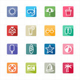 Flat icons summer beach and white background Stock Photo