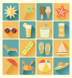 Flat icons summer beachr set stock illustration