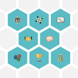 Flat Icons Support, Championship, Discussion And Other Vector Elements. Set Of Projects Flat Icons Symbols Also Includes. Flat Icons Support, Championship Royalty Free Stock Photo