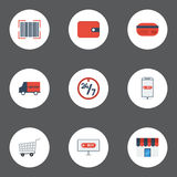 Flat Icons Support, Purchase, Qr And Other Vector Elements. Set Of Shopping Flat Icons. Flat Icons Support, Purchase, Qr And Other Vector Elements Stock Image