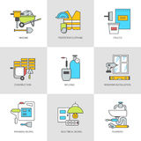 Flat icons, surveying, training, construction and repair Royalty Free Stock Images