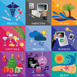 Flat icons Royalty Free Stock Photography