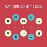 Flat Icons System Unit, Presentation, Monitor And Other Vector Elements. Set Of Computer Flat Icons Symbols Also vector illustration