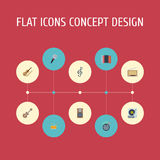 Flat Icons Tambourine, Knob, Karaoke And Other Vector Elements. Set Of Studio Flat Icons Symbols Also Includes Guitar Royalty Free Stock Photos