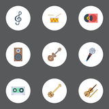 Flat Icons Tape, Audio Box, Acoustic And Other Vector Elements. Set Of Music Flat Icons Symbols Also Includes Guitar Royalty Free Stock Photo