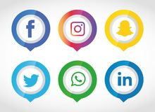 Flat icons technology, social media, network, computer concept. Abstract background with objects group of elements. star smiley f. Flat icons technology, social Vector Illustration