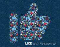 Flat icons technology, social media. Network, computer concept. Abstract background with objects  group of elements. star smiley face sale. Share, Like Stock Photography