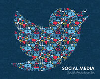 Flat icons technology, social media. Network, computer concept. Abstract background with objects group of elements. star smiley face sale. Share, Like, Comment stock illustration