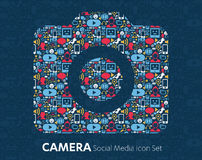 Flat icons technology, social media Royalty Free Stock Photography