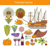Flat icons on Thanksgiving Stock Images