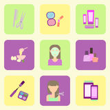 Flat icons on the theme of the care of a woman. Beauty. Stock Images