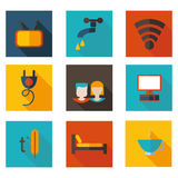 Flat icons theme hostel in vector format. Stock Photo