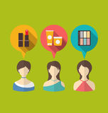 Flat icons of three woman with speech and thought bubbles Royalty Free Stock Photos