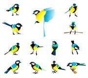 Flat icons of titmouse set. Winter birds in a flat style. Great Tit, Parus major Royalty Free Stock Photos