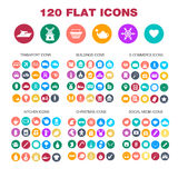 120 flat icons. Transport, buildings, e-commerce, kitchen. Christmas, social media icons for business sites banners Eps10 Royalty Free Stock Photography