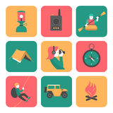Flat icons of travel and adventure Stock Photography