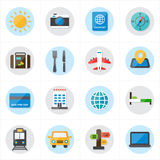 Flat Icons For Travel Icons and Transport Icons Vector Illustration Royalty Free Stock Photos