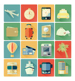 Flat icons travel set Stock Photos