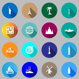 Flat icons for travel. Stock Image