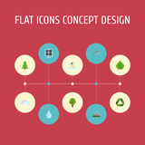 Flat Icons Tree, Playful Fish, Wood And Other Vector Elements. Set Of Environment Flat Icons Symbols Also Includes. Flat Icons Tree, Playful Fish, Wood And Other stock illustration
