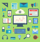 Flat icons of trendy everyday objects, office supplies and busin Stock Photography