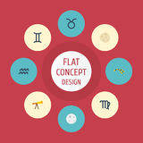 Flat Icons Twins, Lunar, Optics And Other Vector Elements. Set Of  Flat Icons Symbols Stock Photography