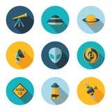 Flat icons UFO Royalty Free Stock Photos