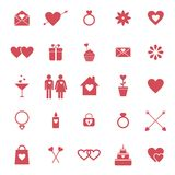 Flat icons for Valentine day or wedding design Stock Photo