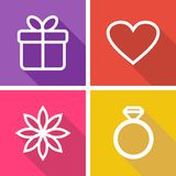 Flat icons for valentines day or wedding Royalty Free Stock Images