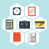 Flat icons vector collection of business objects. On white background Stock Photography