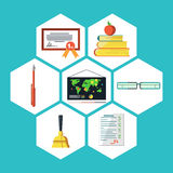 Flat icons vector collection of education objects. On white background Royalty Free Stock Photo