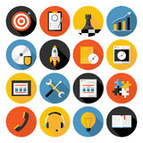 Flat icons vector collection with long shadow of web design obje Stock Image