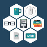 Flat icons vector collection of programming and coding objects. On white background Stock Photography