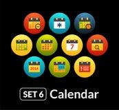 Flat icons vector set 6 - calendar collection Stock Photography