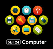 Flat icons vector set 24 - computer collection. For phone watch or tablet Royalty Free Stock Photography